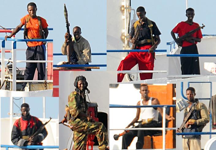 Somali pirates on the MV Faina in 2008