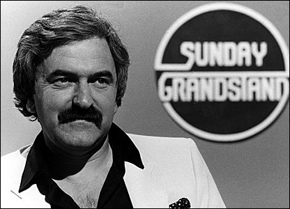 A Granstand finish? Des Lynam back in the day, with almost everything except the medallion