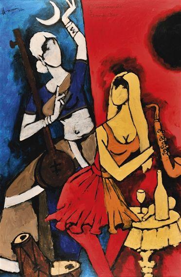 Women From   Yemen by M.F. Husain