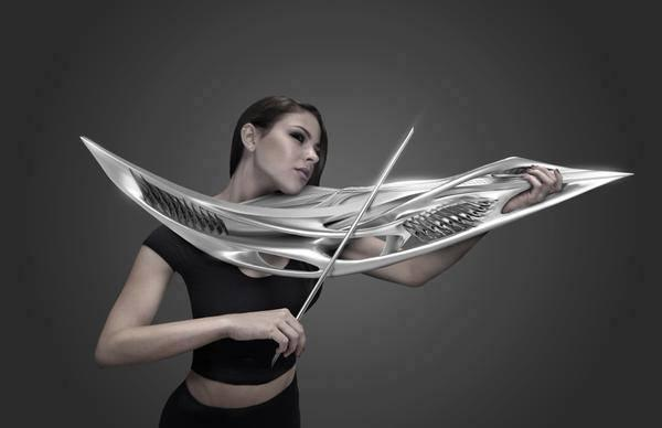 "3D printed violin. with two ""strings""."