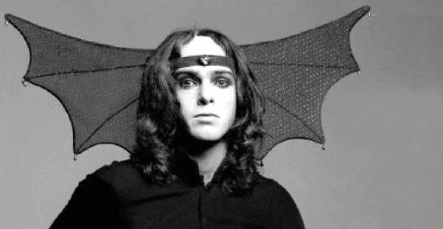 Peter Gabriel, aged 23, in the early days of Genesis.