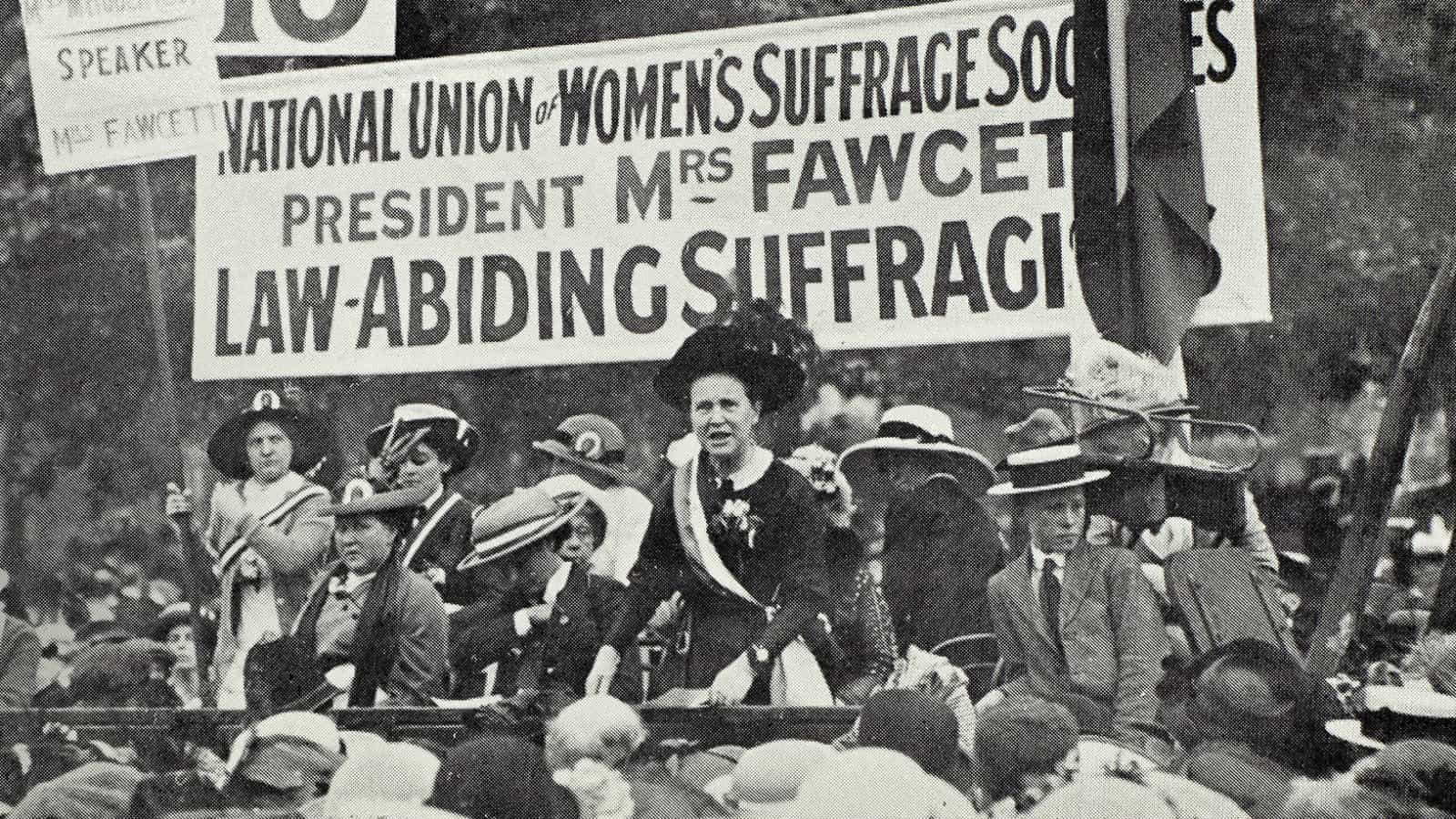 Millicent Fawcett campaigns for the vote in London's Hyde Park