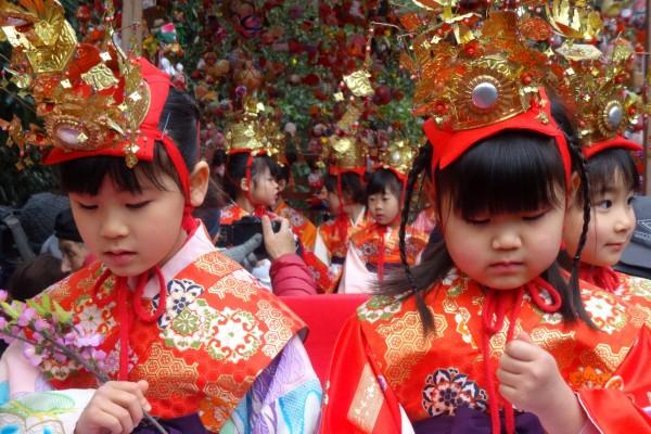 Japanese dress up to parade and celebrate Hina Matsuri