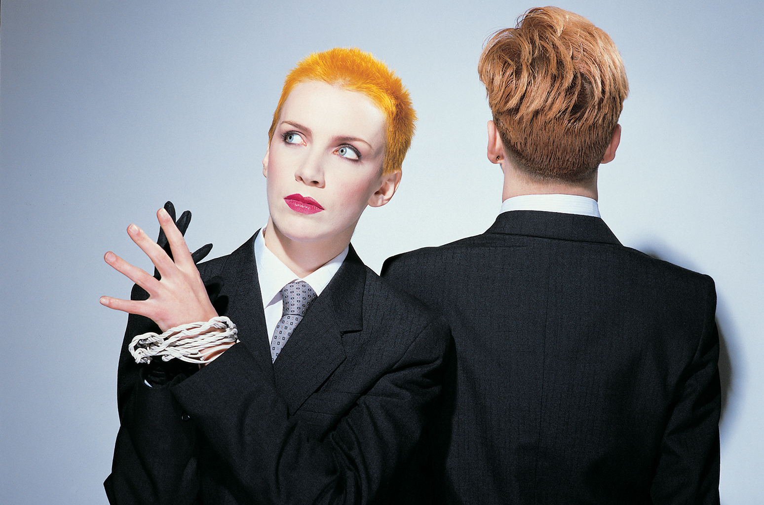 The odd couple. Annie Lennox and Dave Stewart.