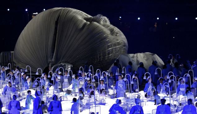 NHS nurses are celebrated as part of the London 2012 Olympic opening ceremony