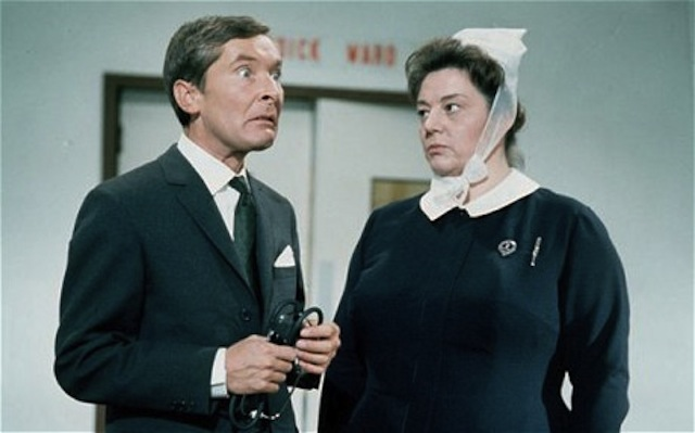 Ooh matron! Kenneth and Hattie in Carry On Doctor.