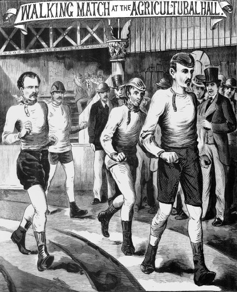 """Walking contest, chaps? This could go on for days, if not weeks. The first Astley International Belt race at the """"Aggie"""", Islington, London, March, 1878."""