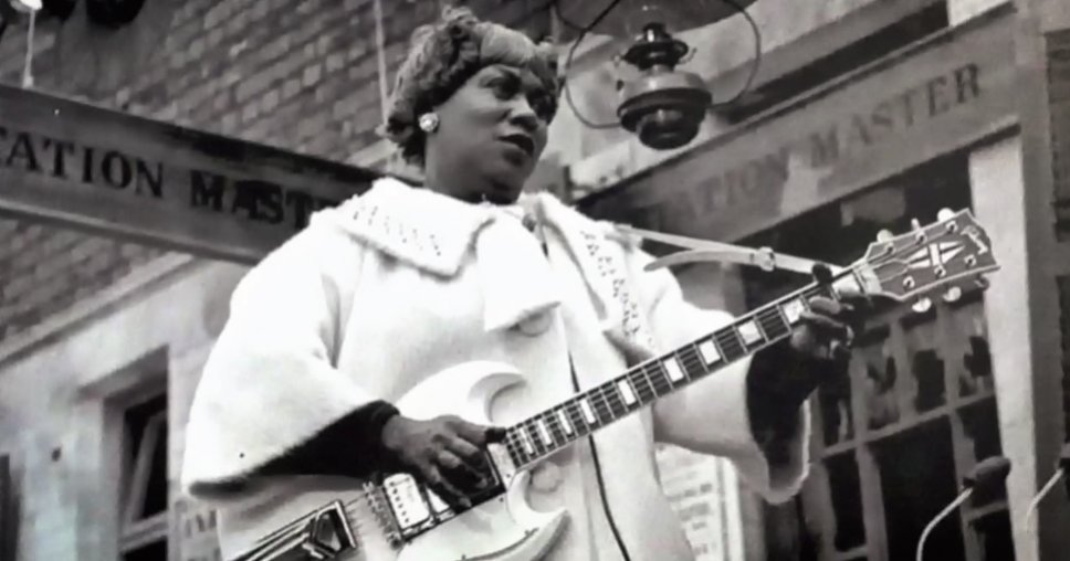 Sister Rosetta Tharpe, singing and guitar-playing superstar, in action at Chorlton station in 1964