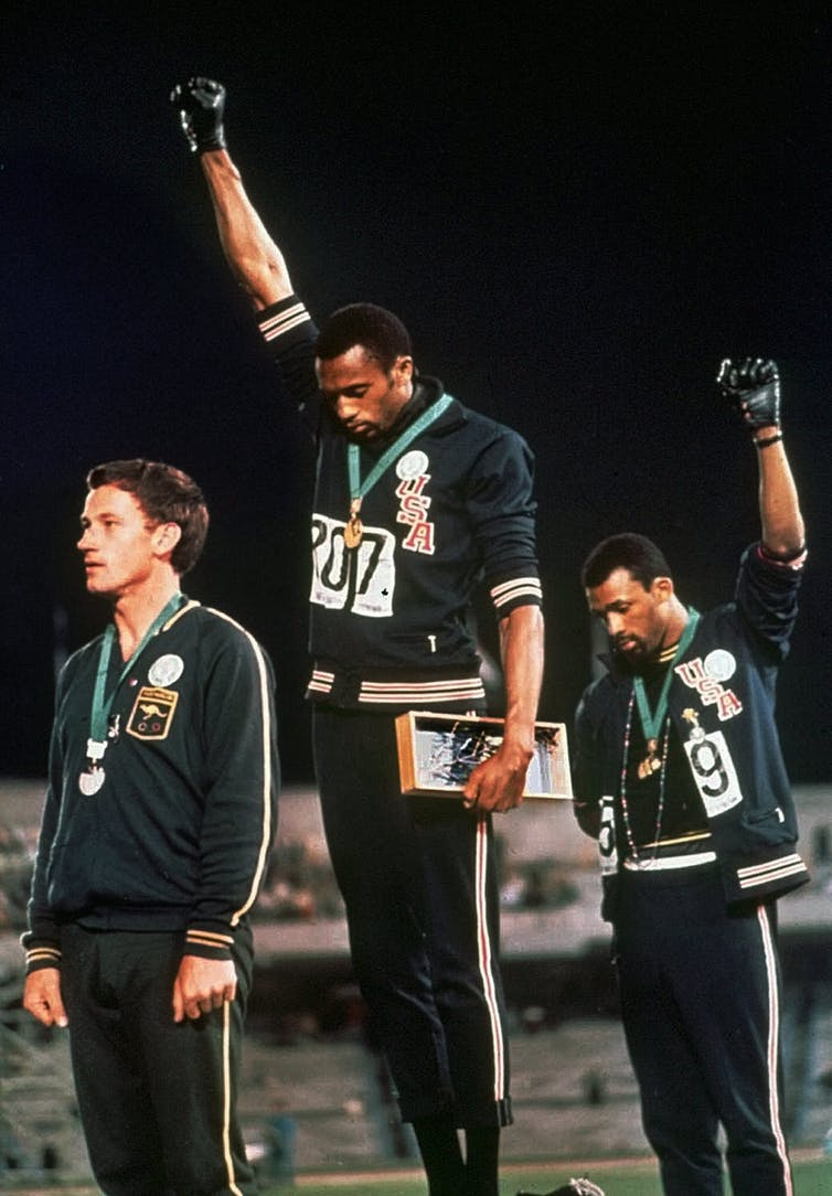 Peter Norman, Tommie Smith and John Carlos, 200m medal ceremony, Mexico 1968