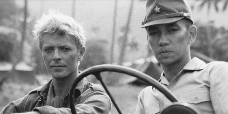 David Bowie and Ryuchi Sakamoto on the set for Merry Christmas Mr Lawrence