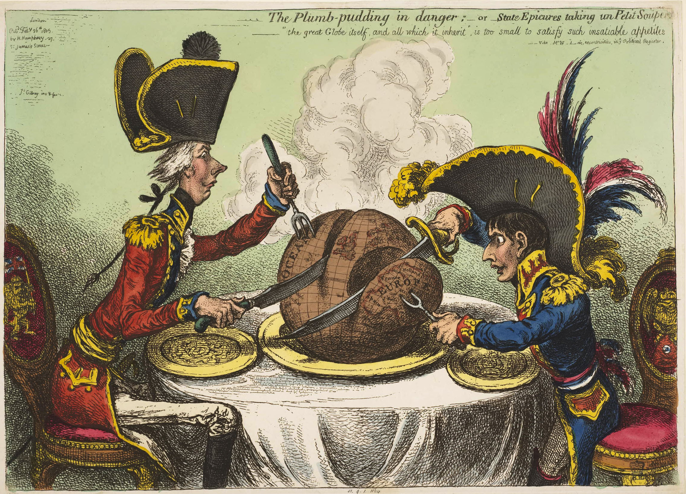 The Plumb-Pudding In Danger by James Gillray (1805). But who is carving it up in 2019?