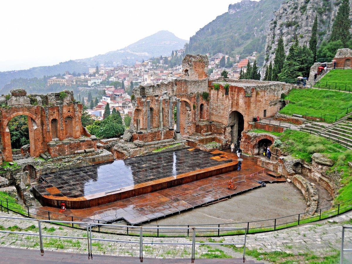 Rock on: Teatro Antico di Taormina in Italy, originally a Greek theatre.