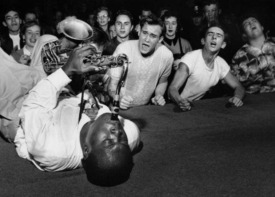 Music over race: Big Jay McNeely wows a white audience at the Olympic Auditorium in Los Angeles, 1953