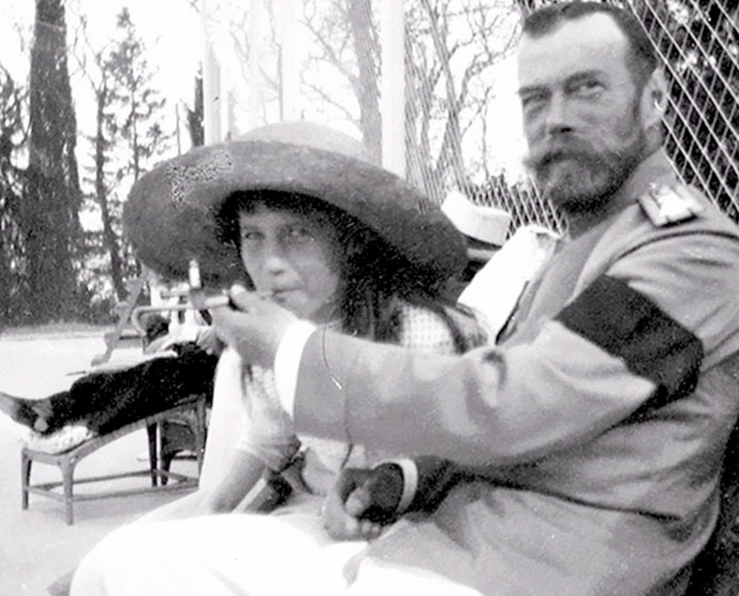 Tsar-struck: Nicholas II and his daughter, the Grand Duchess Anastasia sharing a pipe in pre-Soviet Russia