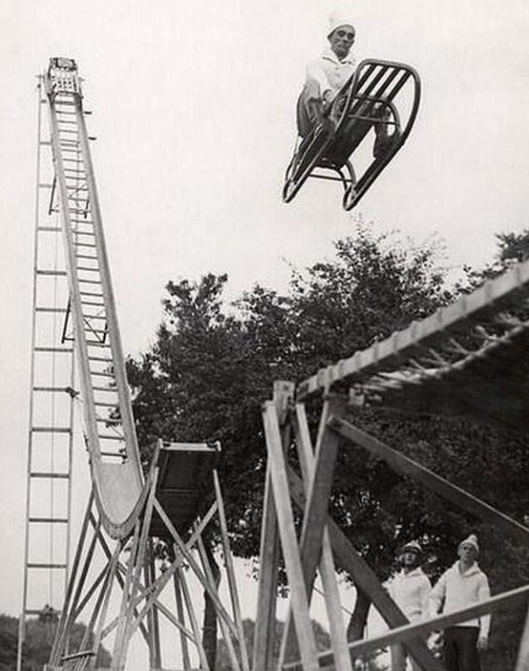 Way to go? High flying US death-row prisoner testing a roller coaster in 1958