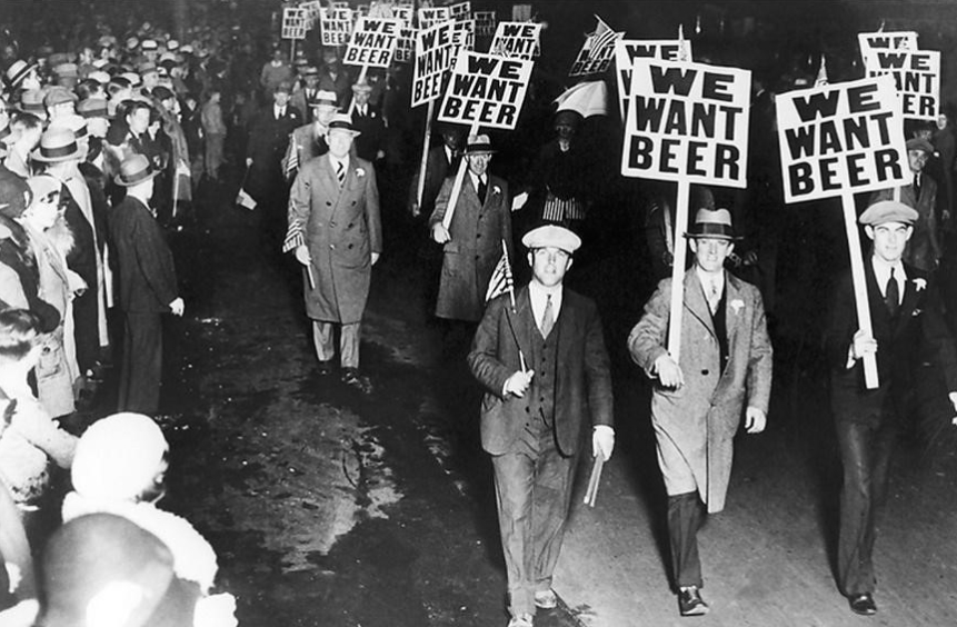 Dry humour. is that clear? US Prohibition protest in the 1930s