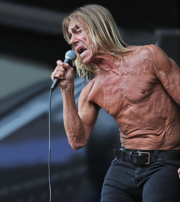 … to a bigger rock star. Iggy Pop's torso is human already, but feeling the strain of the years, has a face of its own …