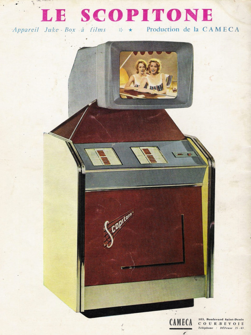 Le Scopitone, a French video jukebox invented in the 1950s