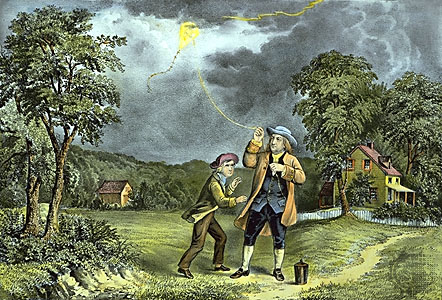 Bolt out of the blue: Benjamin Franklin and his son William conduct the kite experiment