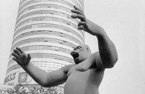 King Kong statue, Birmingham city centre, in the 1970s