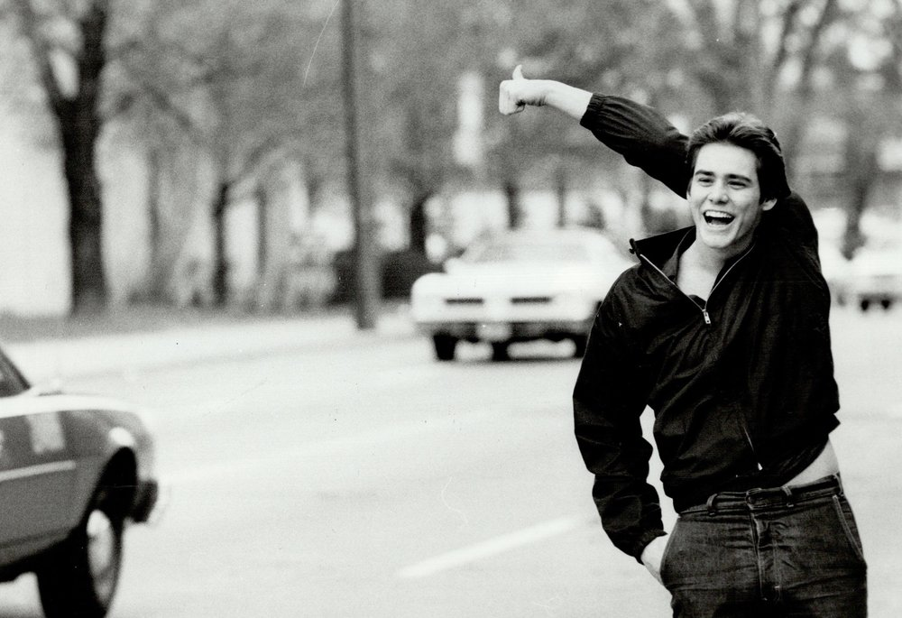 New angle? Actor Jim Carrey, aged 19, tries a new thumbing method before he was famous