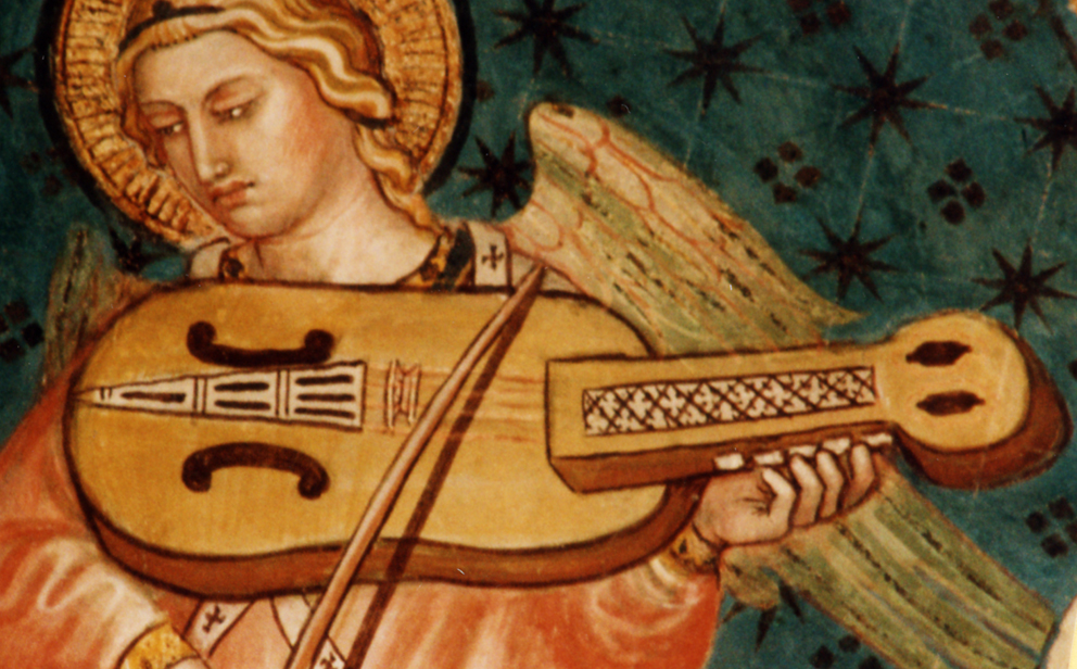 An angel with  viola a chiavi  (viola with keys) at Cappellina di Palazzo Pubblico in Siena, Italy by Taddeo di Bartolo, 1408