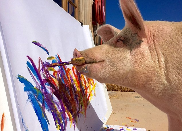 Hmm. Abstact Expressionism? Pigcasso is what you might call creative livestock.
