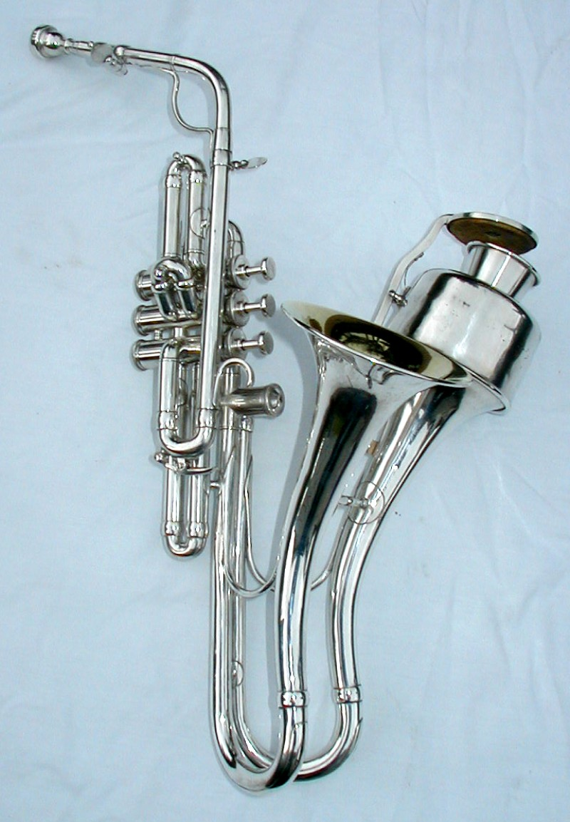 The jazzophone's two bells, one open, the other with a triggered mute