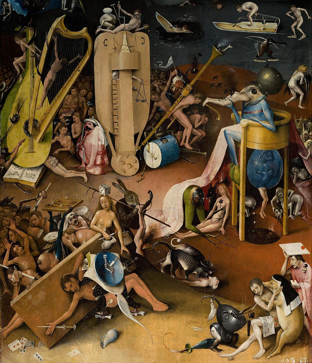 A hurdy-gurdy, or humpenscrump stands in Hieronymus Bosch's The Garden of Earthly Delights