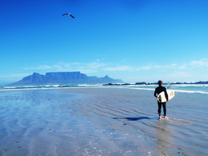 Big Bay, north of Cape town is known more for windsurfing, but it's a fun 'novelty' wave for traditional surfing.