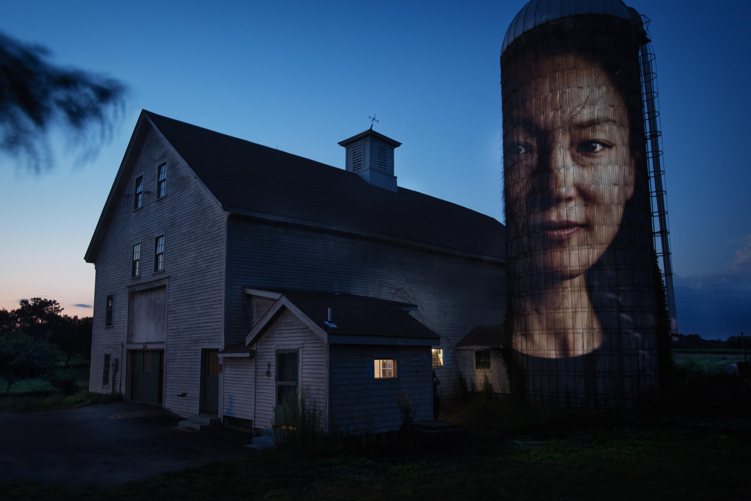 Jennifer Hyoje-Ryu Kenty | South Korea Farmer - Projected on a barn in Concord, MA