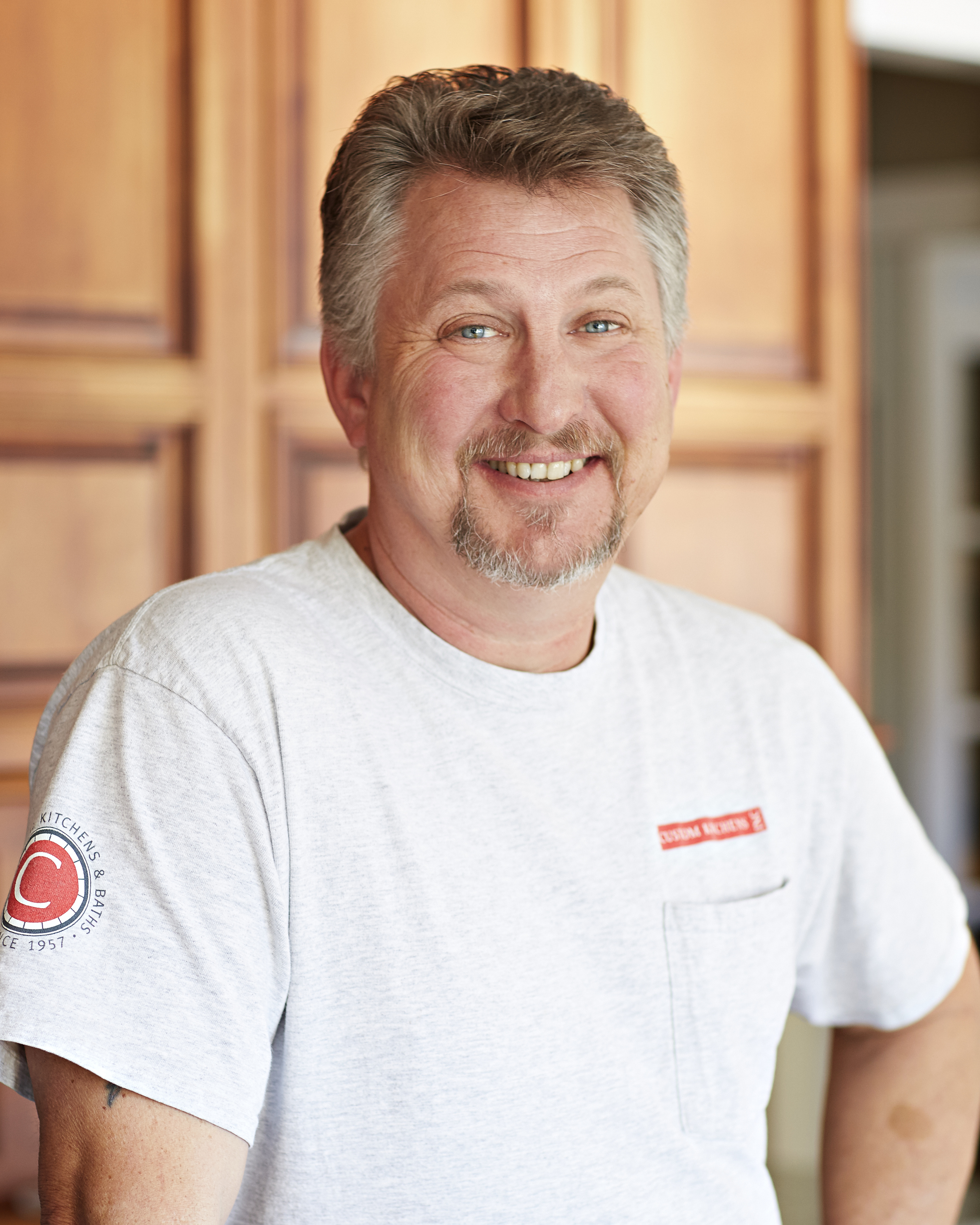 James (J.T.) Hall  Cabinet Installer  James has been expertly installing cabinets and trim for 30 years. He loves the crisp, clean lines of a finished job and the personal interaction he gets to have with our clients. Outside of work he plays and sings in his church's praise band and choir and is the frontman of a local band.