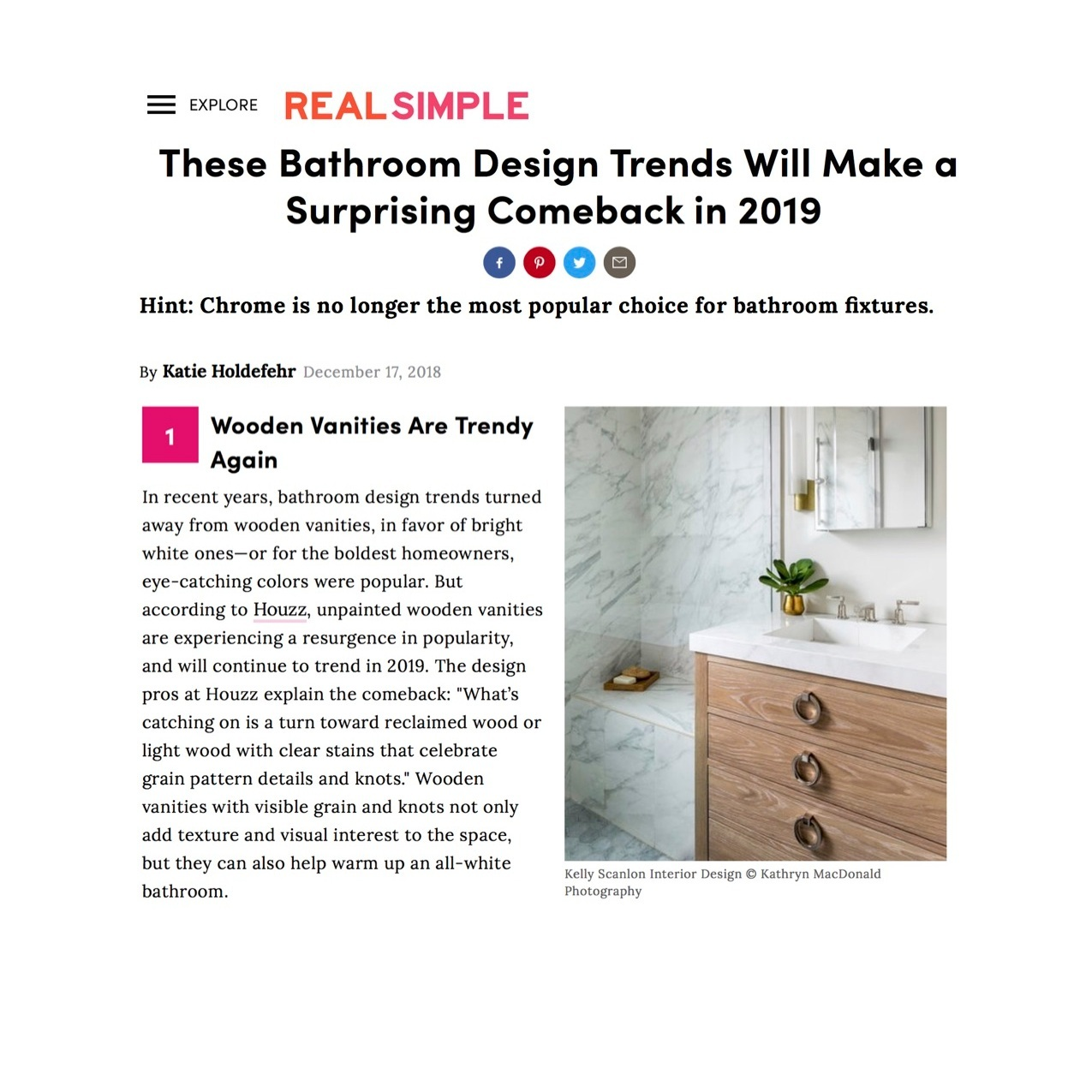 """Wooden vanities are trendy again…unpainted wooden vanities are experiencing a resurgence in popularity and will continue to trend in 2019""  Kelly Scanlon Interior Designs photo"