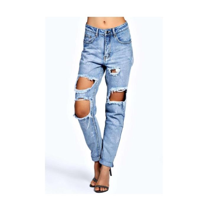 The Budget Friendly  BooHoo Blue Briana Light Blue Extreme Ripped Boyfriend Jeans - $35 (boohoo.com)