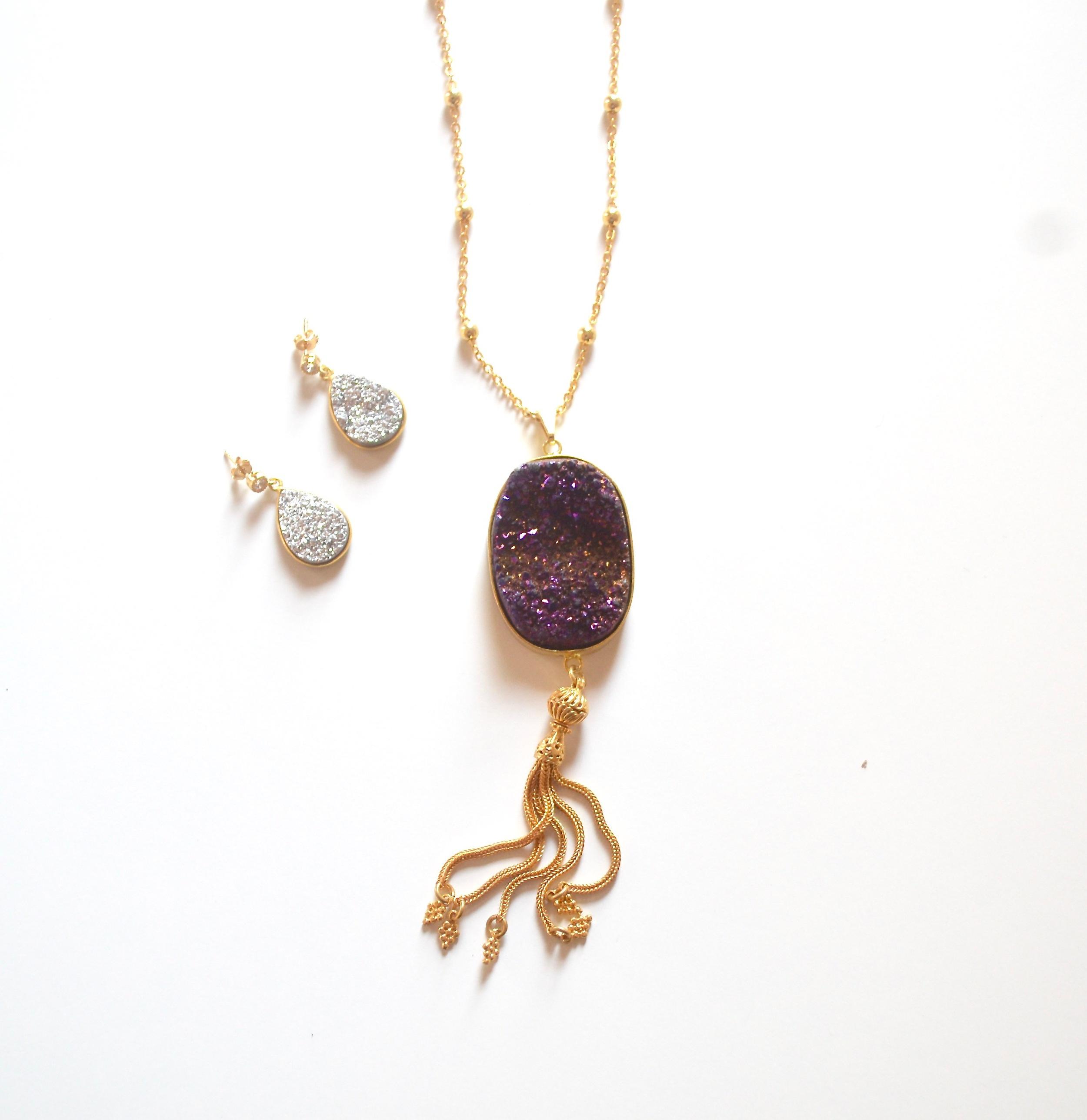 Pictured:Mela Druzy Tassel Necklace &Druzy Earrings, Ashlynn Druzy Earrings