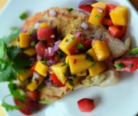 Chicken Paillard with Plum Salsa