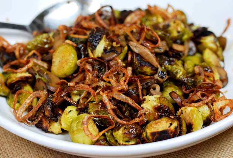 Roasted Brussels Sprouts with Wild Mushrooms and Crispy Shallots