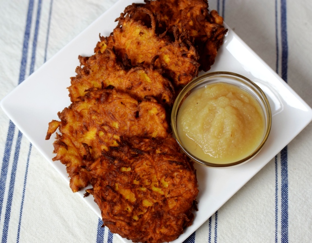 Sweet Potato Latkes with Applesauce
