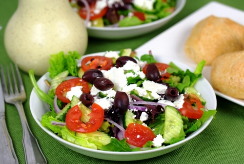 Brother's Keeper Salad with Greek Feta Dressing on the side, no croutons