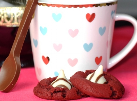 Raspberry Truffle Coffee with Red Velvet Valentine's Cookies & a chocolate spoon!