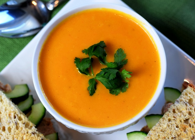 Lovely Carrot & Ginger Soup with an Asian Tuna Salad Sandwich