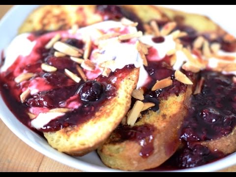 Berry French Toast with Maple Greek Yogurt & Toasted Sweet Almonds