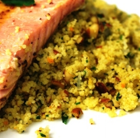 Orange-Scented Couscous with Herbs & Almonds provide a tasty bed for Mustard, Maple & Orange Marinated Salmon!