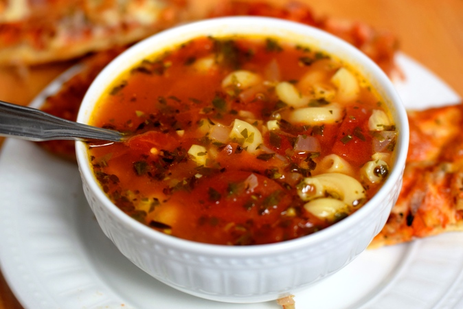 Herbed Tomato, Garlic & Macaroni Soup with Cheesy Flatbread
