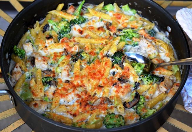 Chicken, Broccoli, & Mushroom Skillet Penne