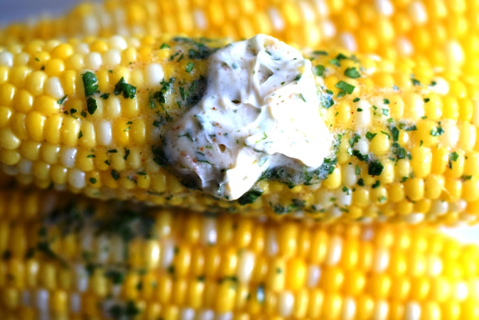 Stack of corn with compound butter.JPG