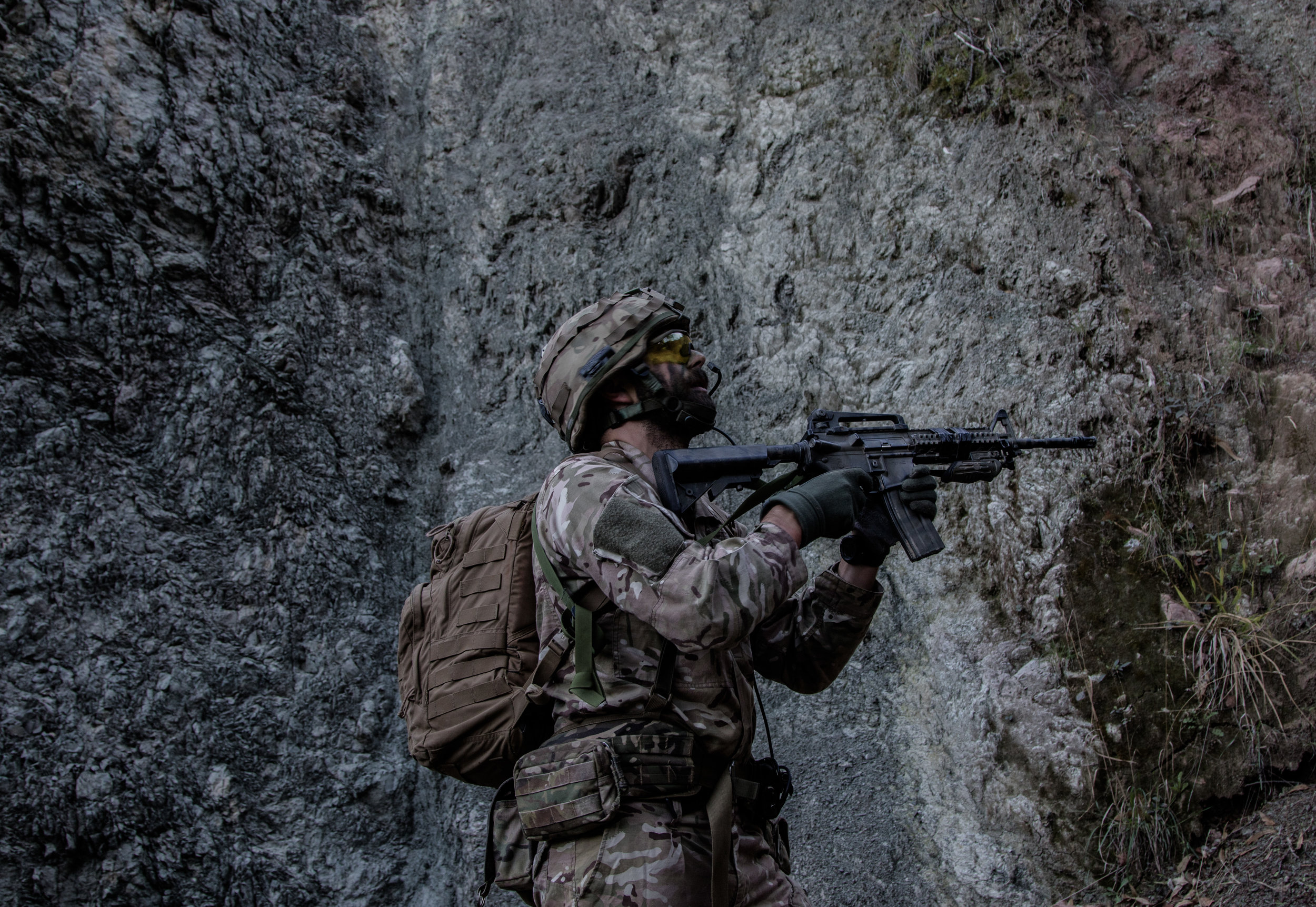 olly, one of our sergeants, amidst the ravine