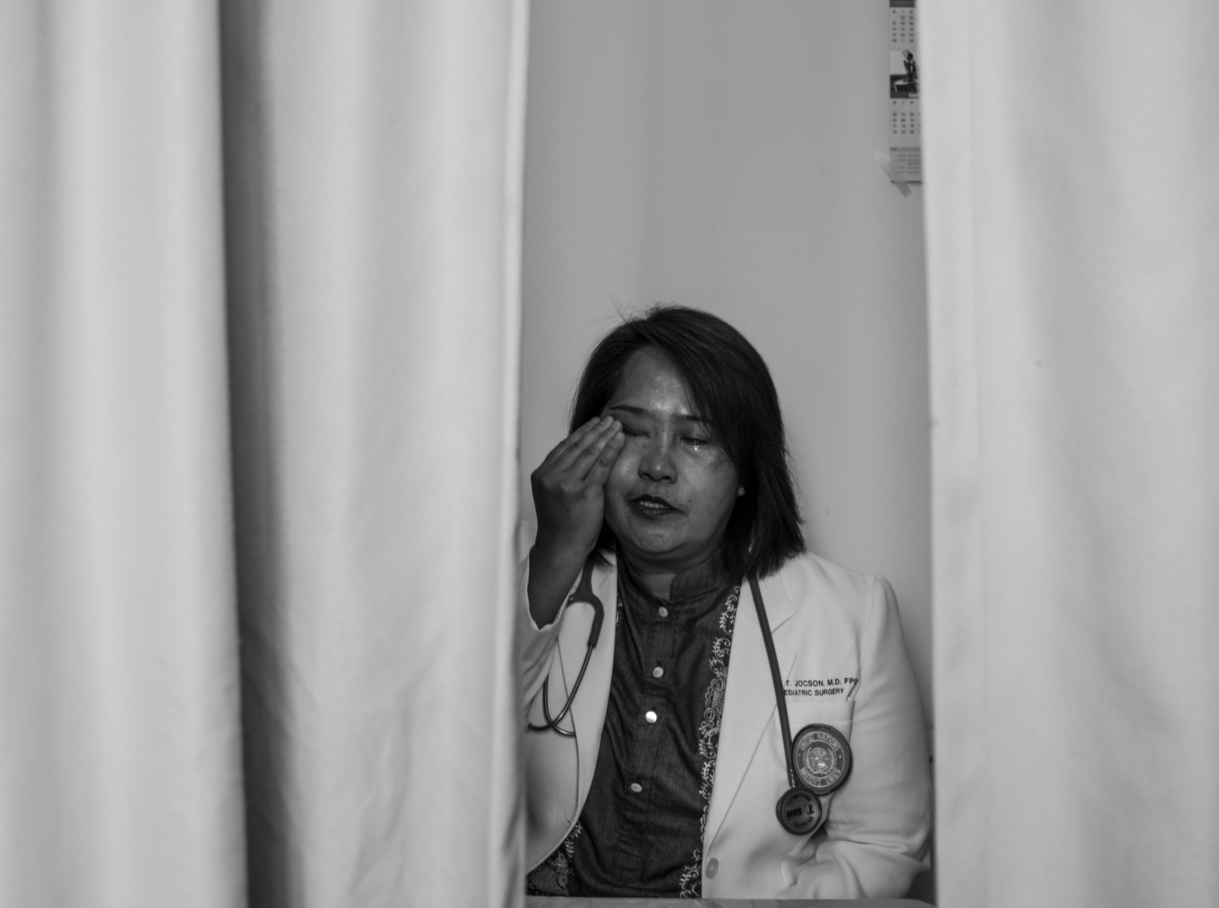 May 3, 2018, UNIFIL- Elma (53), a Filipino pediatric surgeon cries as she tells the story of a 9 year old boy dying during surgery.