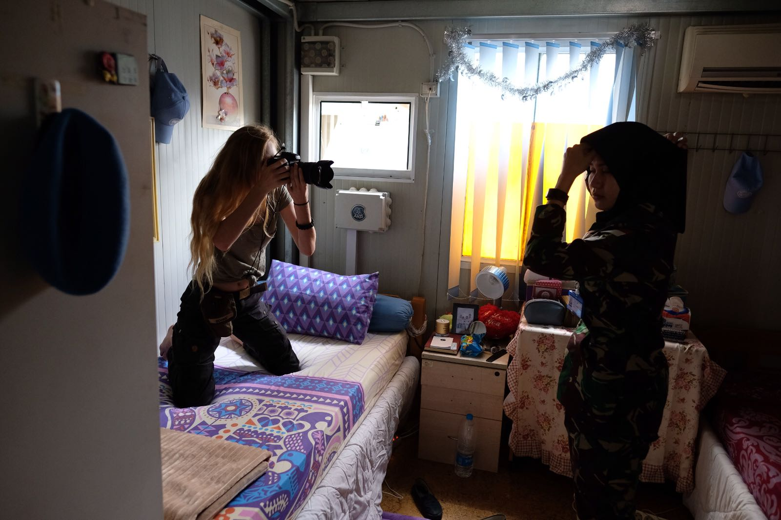 May 4, 2018, UNIFIL- me photographing SFC Ariska (24) in her bunker.