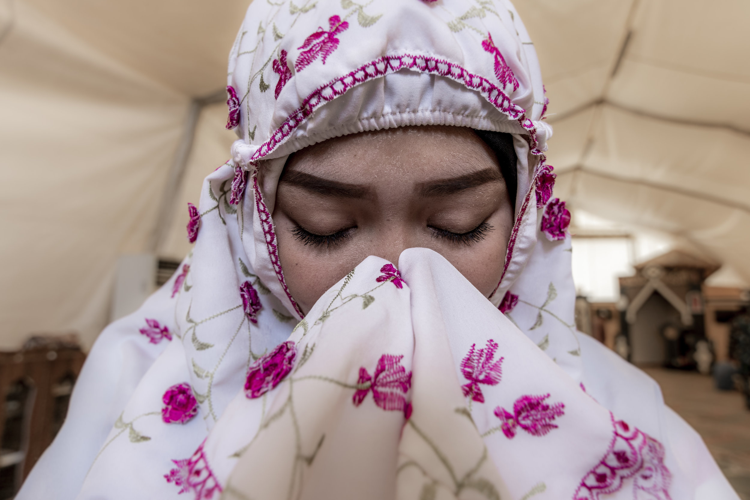 May 4, 2018, UNIFIL- an Indonesian women prays in the makeshift mosque at their base.